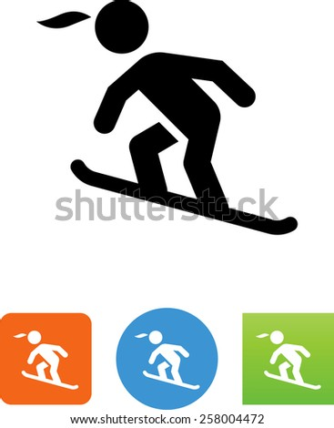 Snowboarder symbol for download. Vector icons for video, mobile apps, Web sites and print projects.