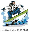snowboarder vector illustration - stock photo