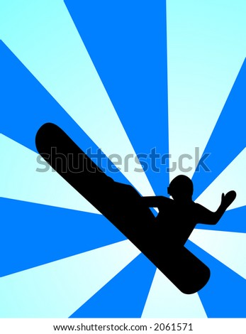 Snowboarder vector pulling a mute grab.  Resize to ones desire. - stock vector