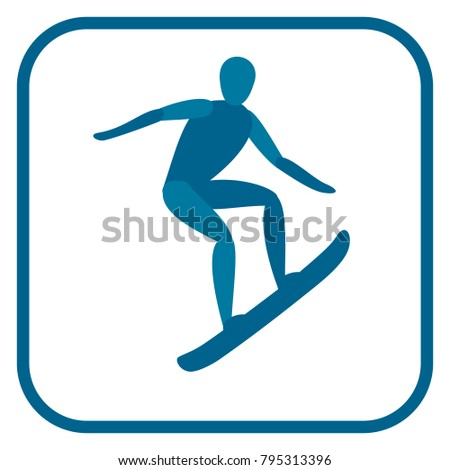 Snowboarding emblem. Two color icon of the athlete.One of the pictogram from winter sports icons set. Vector illustration EPS-8.