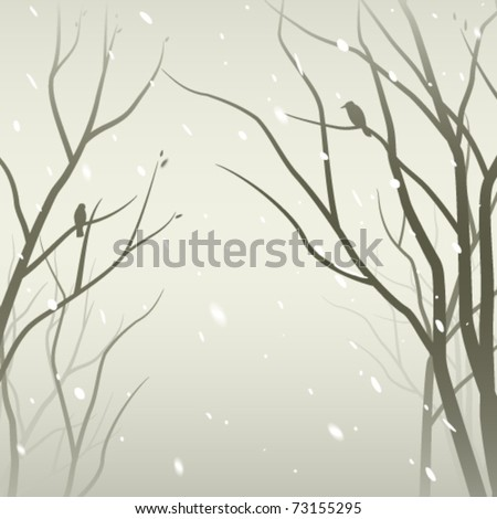 Snowfall in the forest. Trees silhouettes against mantle of snow - stock vector