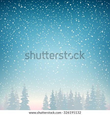 Snowfall, Snow Falls on the Spruce, Snowfall in the Forest, Fir Trees in Winter in Snowfall, Winter Background, Christmas Winter Landscape in Blue Shades,  Vector Illustration - stock vector