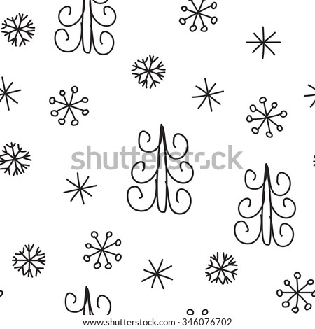 Snowflake and fir christmas tree. Christmas decoration pattern, seamless background, hand drawn elements. Vector illustration in black and white colors - stock vector