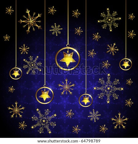 Snowflake and stars - stock vector