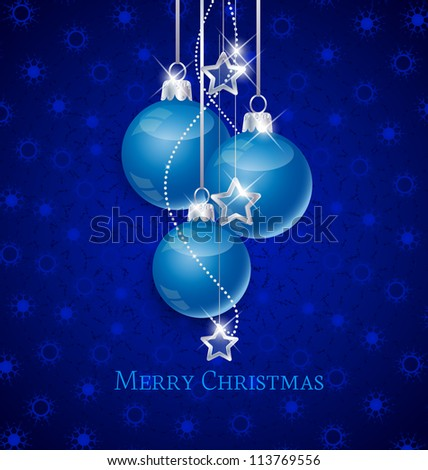 Snowflake background and blue Christmas ball - stock vector