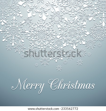 Snowflake Background - Christmas snowflake background.  Snowflakes are behind a clipping mask.  Colors are global for easy editing.   - stock vector
