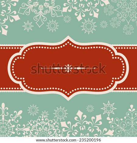 Snowflake Background - Vintage frame design on snowflake background.  Snowflakes are behind a clipping mask.  Colors are global for easy editing.   - stock vector