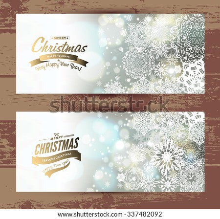 Snowflake backgroundset of christmass banners. Vector holiday backdrop. - stock vector