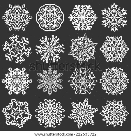 Snowflake chalk vectors. Set of 16 isolated elements on dark background. Template for christmas winter design - stock vector