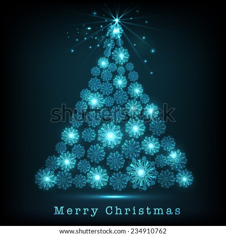 Snowflake decorated shiny blue X-mas Tree for Merry Christmas celebrations. - stock vector