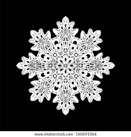 Snowflake doily / lace, hand made wedding decor, design element, vector illustration - stock vector