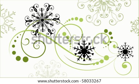 snowflake flourish - stock vector