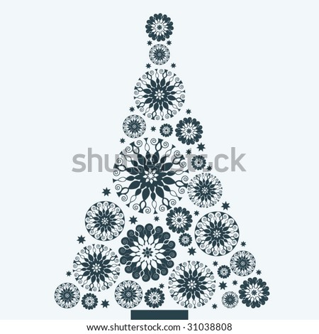 snowflake flower christmas tree - all separate elements - stock vector
