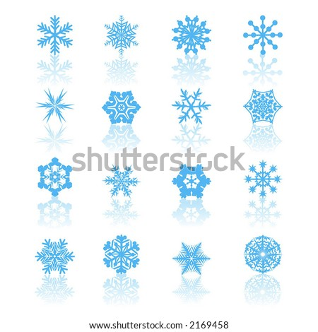 Snowflake icons - stock vector
