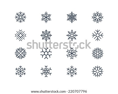 Snowflake icons 2 - stock vector