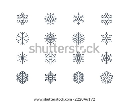 Snowflake icons 3 - stock vector