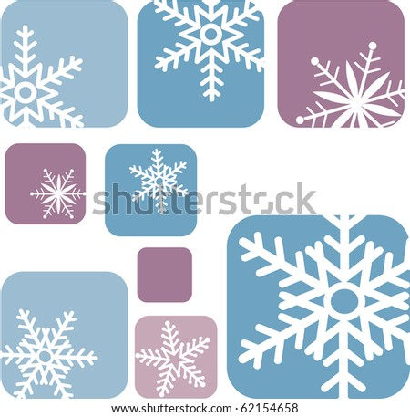 snowflake icons on blue and purple background-2 - stock vector