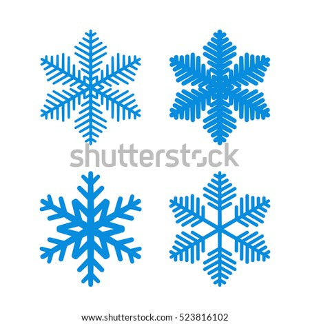 Snowflake Icons Set Blue Silhouette Snowflakes Stock Vector