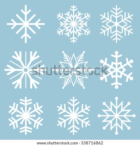 Snowflake icons. Snowflake Vectors. Snowflakes set. Background for winter and christmas theme. Vector illustration. EPS10. - stock vector