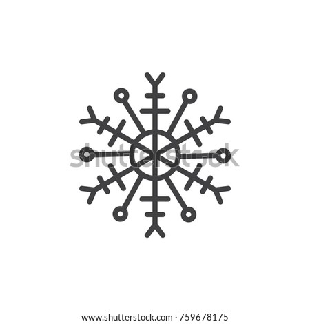 Snowflake Line Icon Outline Vector Sign Stock Vector 759678175
