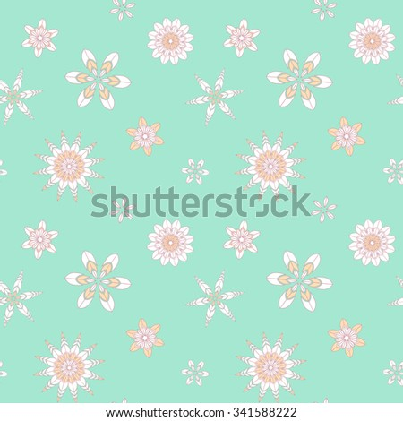 Snowflake pattern seamless-color snowflake on the blue background