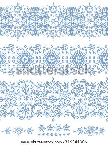 Snowflake seamless  border pattern,ornament background,Winter lace.Christmas,new year holiday decor.Round shape, crystal Vector.Vintage Wallpaper,Retro wrap,textile - stock vector