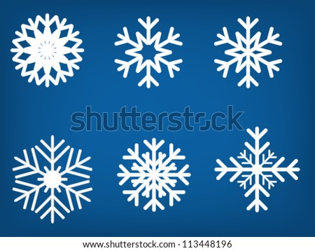Snowflake set vector illustration - stock vector