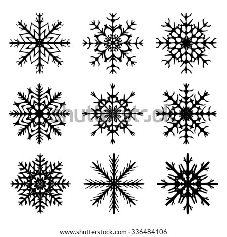 Snowflake silhouette icon, symbol, design. Winter, christmas vector illustration isolated on the white background. - stock vector
