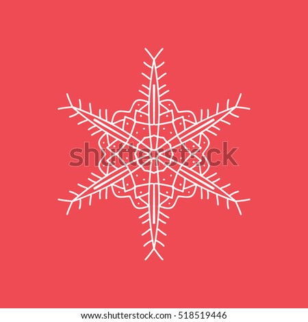 Snowflake Snow Line Icon On Red Background