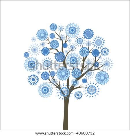 snowflake tree - stock vector