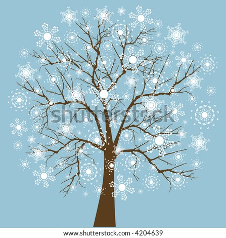 Snowflake tree four snowflake designs layered for easy editing (Just like my Cindy's) - stock vector