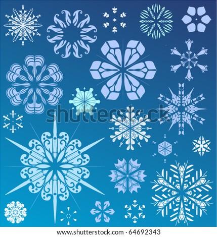 Snowflake vector christmas background. Design collection - stock vector