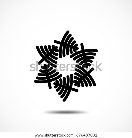 Snowflake Vector Icon Isolated. Black Frozt Symbol on White Background. Icy Snow Element for Winter Design