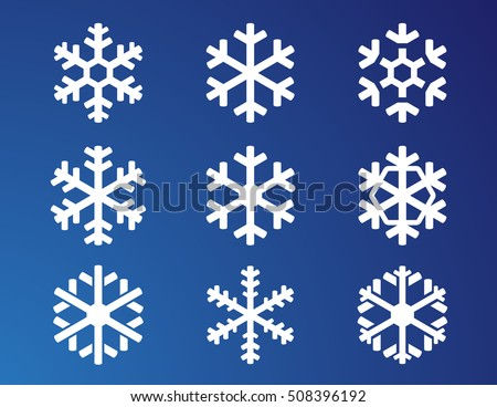 snowflake white isolated icon silhouette set on blue winter background. winter collection