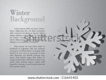 Snowflake winter background with vector gray watercolor paper - stock vector