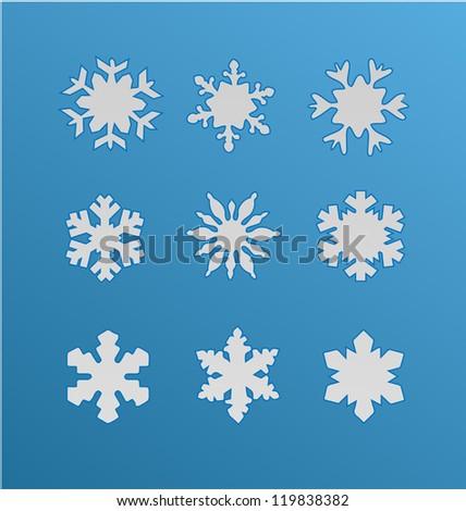 Snowflake winter set - stock vector