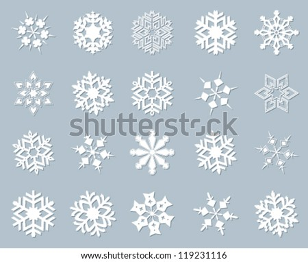Snowflake winter set vector illustration. - stock vector