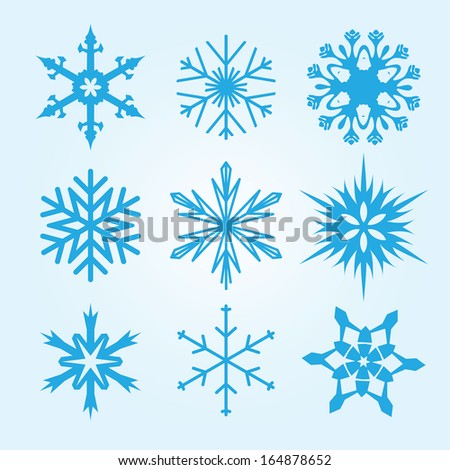 Snowflake winter set vector illustration - stock vector