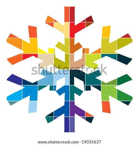 snowflake with colours vector - stock vector
