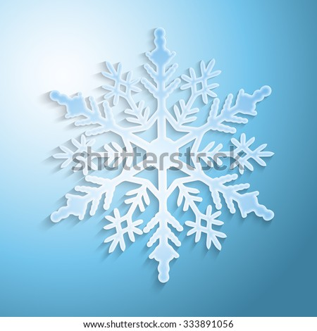 Snowflake with shadow on blue background, vector illustration - stock vector