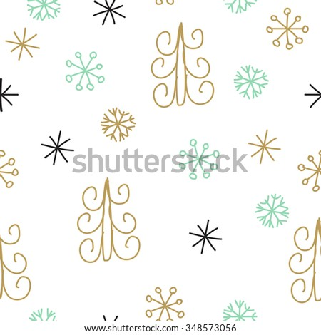 Snowflakes and fir christmas trees. Christmas decoration pattern, seamless background, hand drawn elements. Vector illustration in black, mint, and gold pastel colors - stock vector