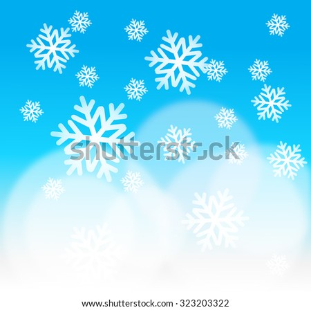 Snowflakes and snow bokeh background, Concept for Christmas or Winter - stock vector