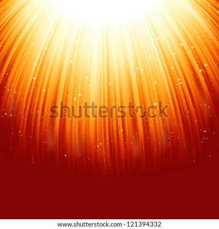 Snowflakes and stars descending on a path of golden light. EPS 8 vector file included - stock vector
