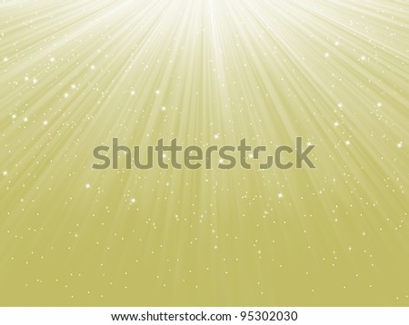 Snowflakes and stars descending on a path of light. EPS 8 vector file included - stock vector