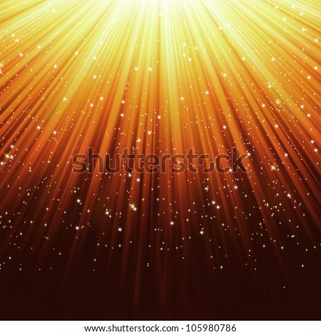 Snowflakes and stars descending on a path of purple light. EPS 8 vector file included - stock vector