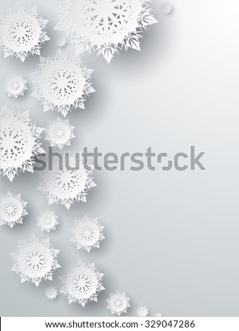 Snowflakes background for winter and New Year, christmas theme. Snow, christmas, snowflake background, snowflake winter. 3D paper snowflakes. Silver snowflake. Snowflakes shadow. Place for text - stock vector