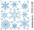 Snowflakes collection, element for design, vector illustration - stock vector