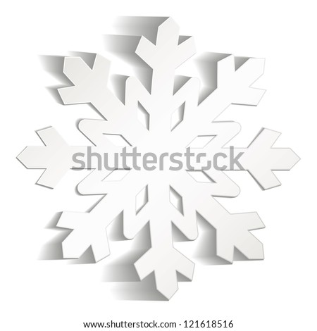 Snowflakes cut from paper. Christmas icon. Isolated on white background. Vector illustration - stock vector