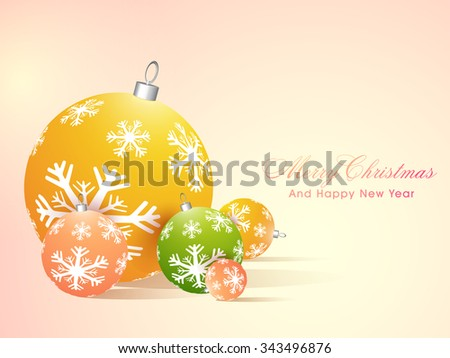 Snowflakes decorated glossy colorful Xmas Balls for Merry Christmas and Happy New Year celebrations.
