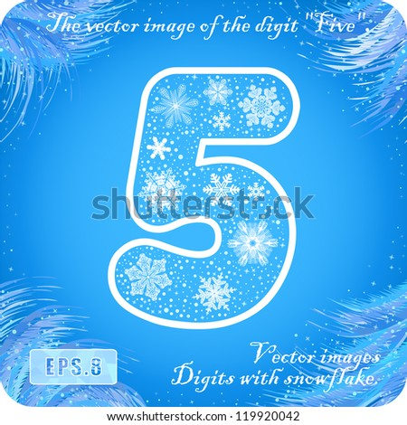 """Snowflakes figures. The vector image of the digit """"five 5"""". Eps8. - stock vector"""